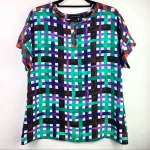 Duro Olowu for JCP Checkered Brushed Print Top